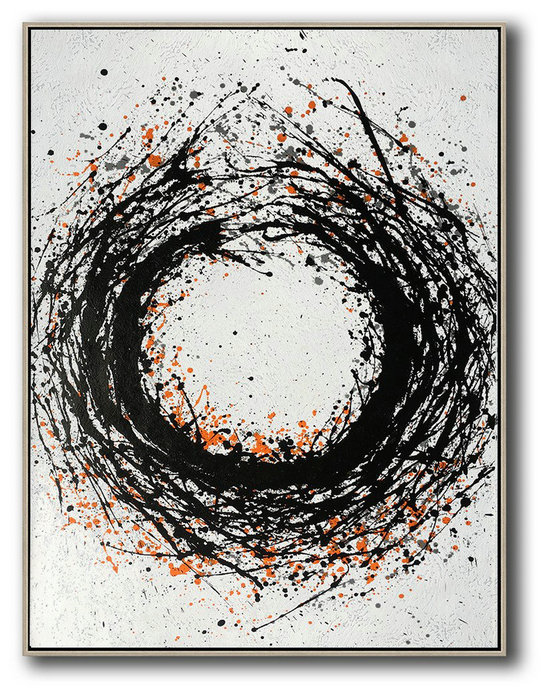 Extra Large Canvas Art,Hand-Painted Black And White Minimal Painting On Canvas,Contemporary Abstract Painting #A6W1
